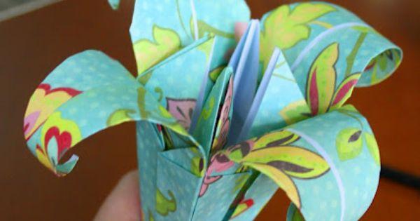 40 Pretty Paper Flower Crafts, Tutorials & Ideas - Folding Paper Lily