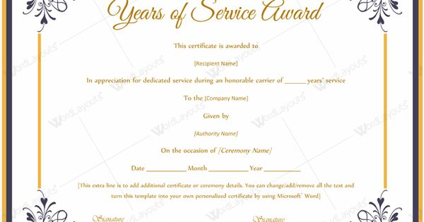 Years Of Service Award Certificate doc #certificate #yearaward - certificate wording