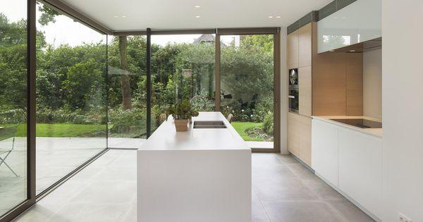 Woning hove uitbreiding en renovatie gelijkvloers vorm interieurgroup dekton zenith - Uitbreiding keuken veranda ...