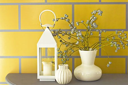 How To Paint A Wall Of Faux Tile Yellow Tile Faux Tiles Yellow Bathroom Tiles