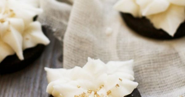 Dark Chocolate Poinsettia Cookies with Champagne Buttercream...oh my. Recipes