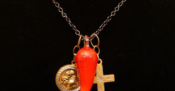 Unisex Necklace Lucky Italian Charms Italian Horn Saint