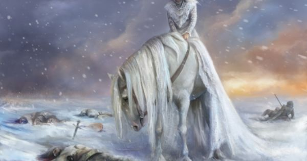 Anime White Horse | White horse and rider are in the field ...