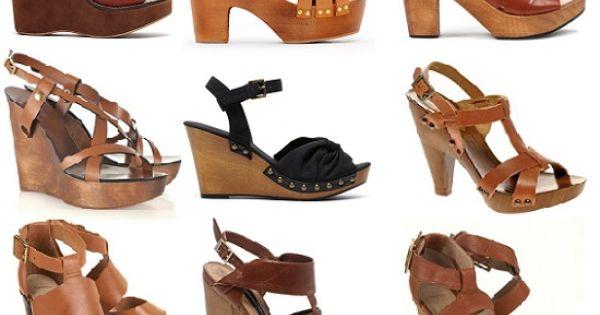 Tacones gruesos de madera zapatos de moda zapatos - Tocones de madera ...