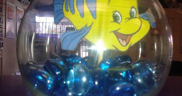 Little mermaid flounder fishbowl centerpiece prop dollar for Dollar tree fish bowls