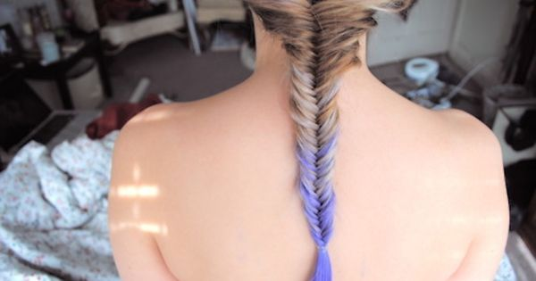 I want purple hair and a fish tail braid!!