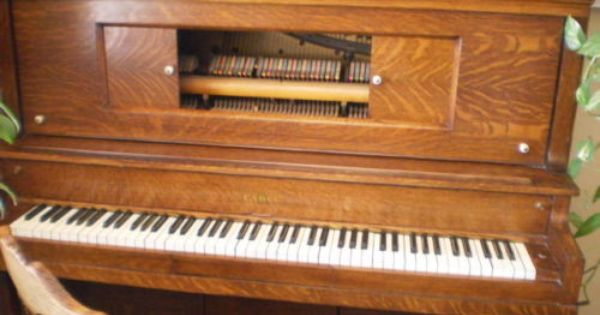 1914 Beautiful Oak Cable Piano Antique Piano Antiques Oak