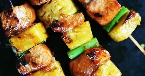 Salmon Teriyaki Skewers with Pineapple | Recipe | Skewers, Salmon and ...