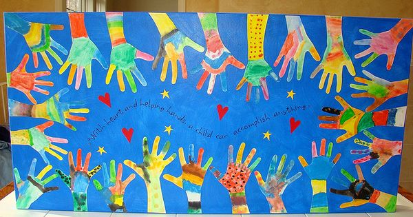 "Back to school classroom idea. Says: ""With heart and helping hands, a"