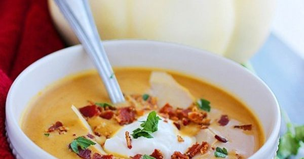 "Creamy Pumpkin Soup Recipe from The Comfort of Cooking. ""I'll just be"