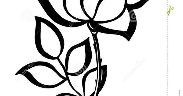 Single Rose Clipart: Simple Single Rose Outline Black