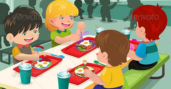 cartoon kids eating at lunch table