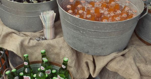 LOVE galvanizes buckets and tubs for drinks at outdoor party