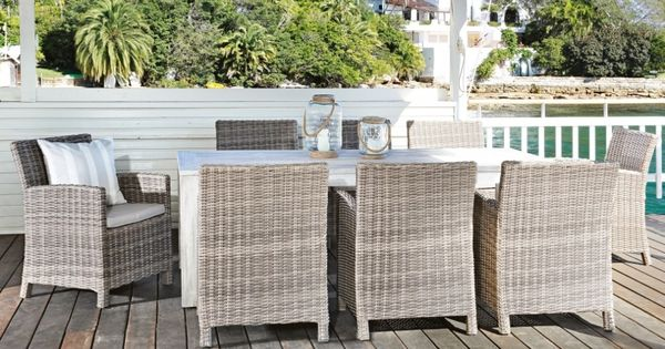 Capella 9 piece outdoor dining setting outdoor living - Harvey norman living room furniture ...