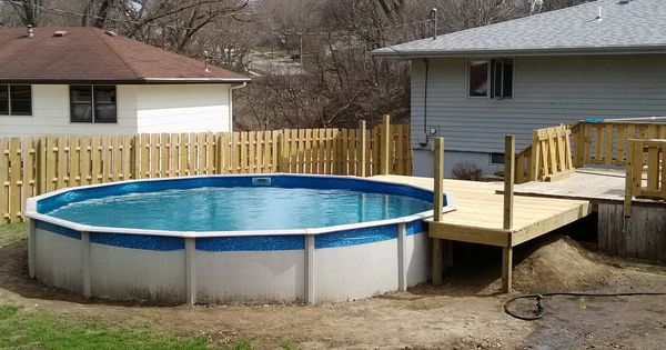 17 Ways To Add Style To An Above Ground Pool: 21' Pool Deck Off Of Existing Deck