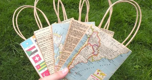 Creative Uses for Old Maps diy gift bags
