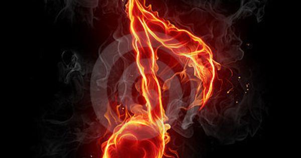 Fiery Treble Clef In Rainbow Flames: Note Symbol. Series Of Fiery