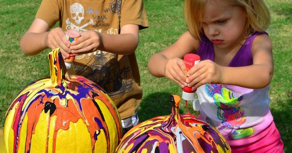 Fun, Safe and Easy Way to Paint Halloween Pumpkins!