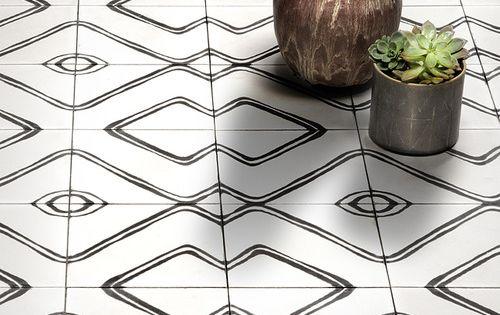 Commune cement tiles carrelage graphique noir blanc white for Carrelage graphique