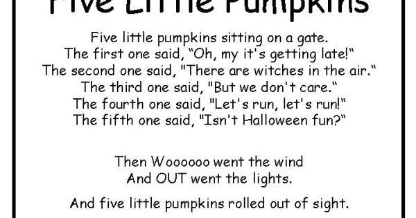 Five Little Pumpkins Poem Halloween Pinterest Poem