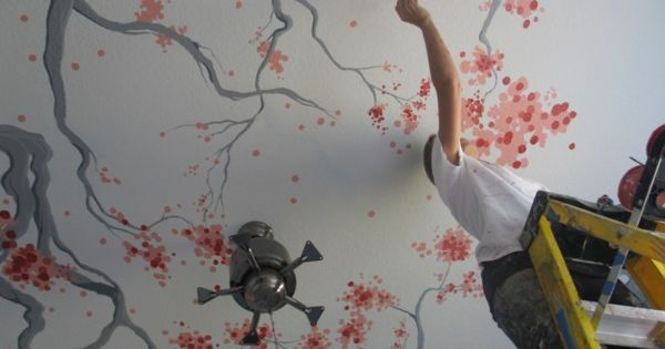 Cherry blossoms painted on a ceiling are unique and ...