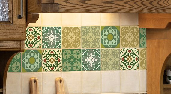 Tile decals set of 15 tile stickers for kitchen tiles for Stickers azulejos cocina