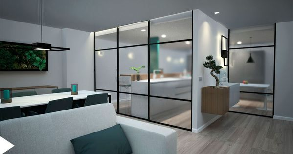 Proyecto de interiorismo con cocina integrada en el sal n for Separacion cocina salon