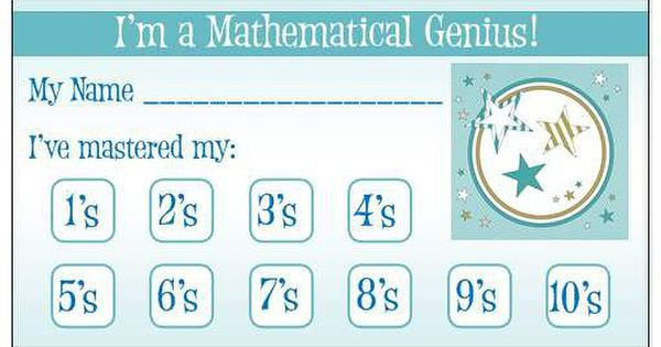 Multiplication Fact punch card