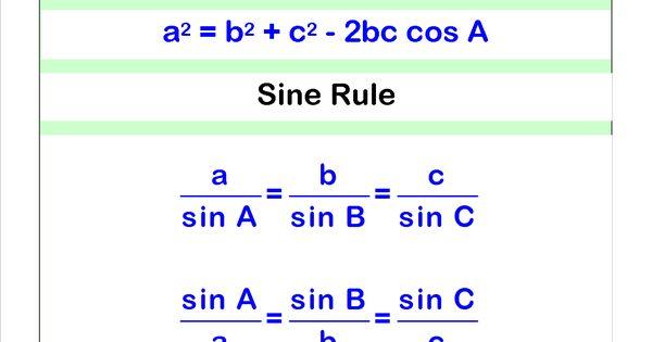 Cosine And Sine Rule Sat Math Pinterest Geometry
