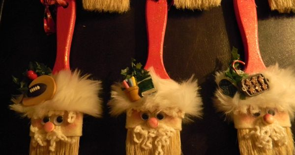 Debbie Stoltenberg's Santa ornaments made out of paintbrushes. pinspirationparty Don't forget to