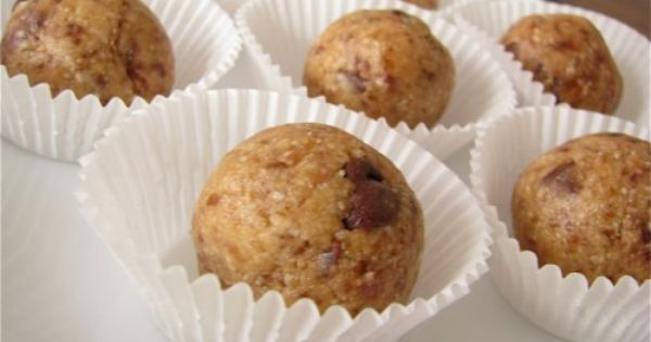 "Peanut Butter Chocolate Chip Cookie Dough ""Truffles"" slightly adapted from Mama Pea's"