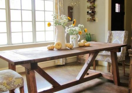 4x4 truss beam table knock off wood dining room for 4x4 dining table