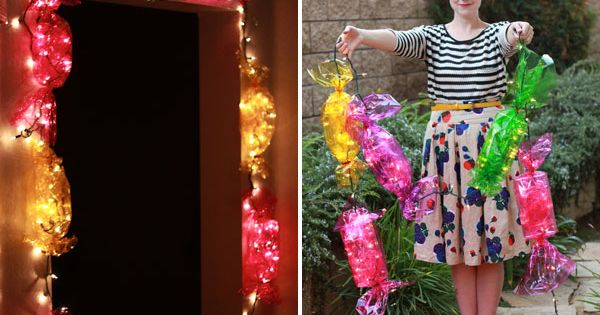DIY candy lights - Using Christmas lights, corsage boxes and colored cellophane.