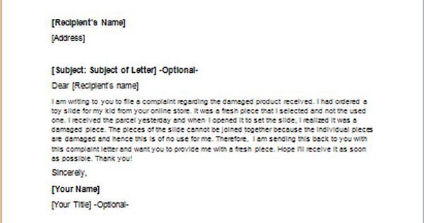 complain receive refund with sample complaint letter and letters - complaint letter