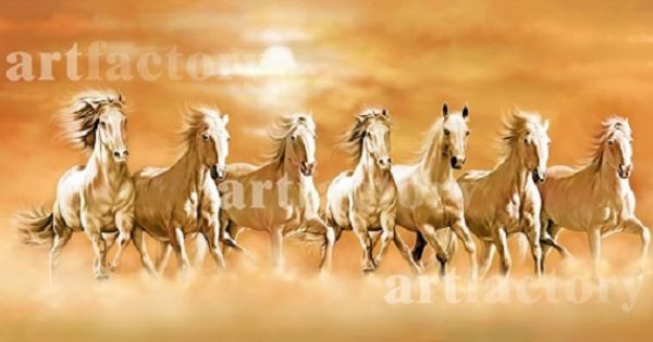 Vastu Running Seven Horse Painting Horse Canvas Painting Horse Painting Seven Horses Painting