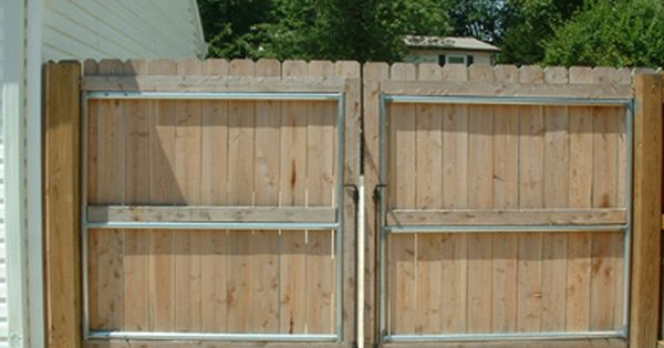 Cedar Double Drive Gate With Steel Reinforced Frame