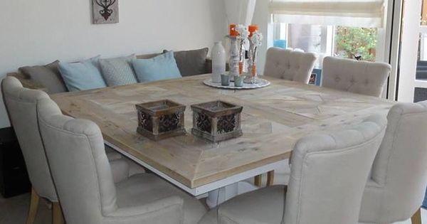 Vierkante tafel met banken en stoelen keuken pinterest for Stoelen keuken