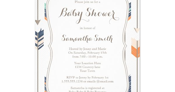 tribal arrows baby shower navy orange teal card | baby shower, Baby shower invitations
