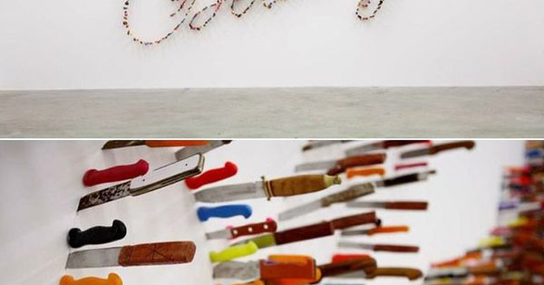 Knife typography - Farhad Moshiri's installation Life is Beautiful.