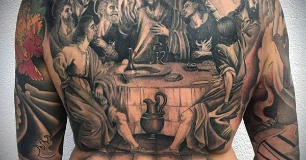 mens full back last supper religious tattoo tattoos pinterest religious tattoos tattoo. Black Bedroom Furniture Sets. Home Design Ideas