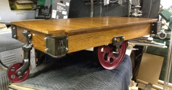 Itu0027s The Newest Trend In Upscale Coffee Tables: The Vintage Industrial Cart!