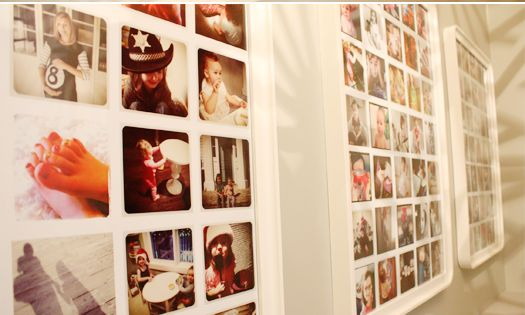Love this idea! Instagrams printed on to a poster, frames.
