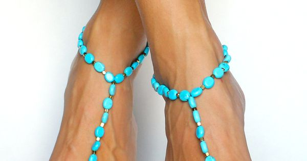 Turquoise an Gold Beaded Barefoot Sandals from Bare Sandals
