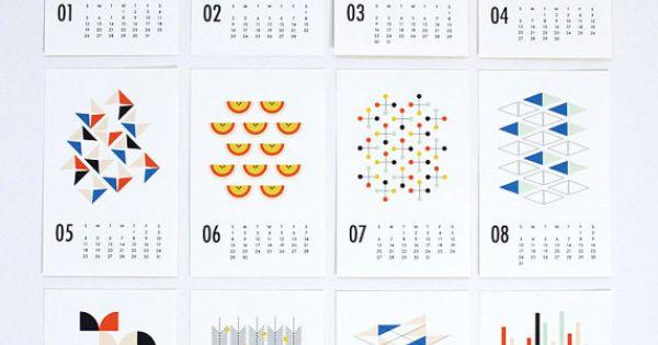 2015 calendrier mural formes par dozi sur etsy calendar for Calendrier mural 2015