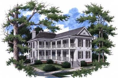 This Beautiful Charleston Style Home Has A Unique Historic Look Its Long Narrow Porch On The Fro Charleston House Plans Coastal House Plans Charleston Homes