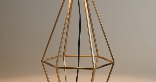 Brass Diamond Table Lamp Base Shape Design Mid Century Style And
