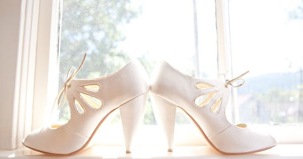A lovely bride chose to wear our I DO heels for her wedding as featured on RUFFLED.