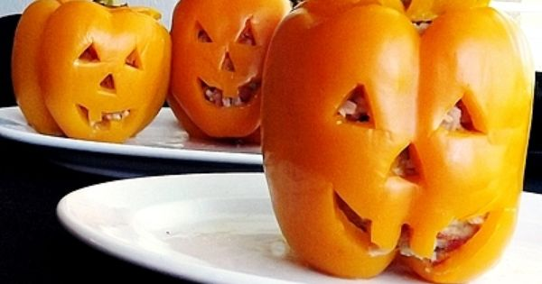 Stuffed pepper pumpkins