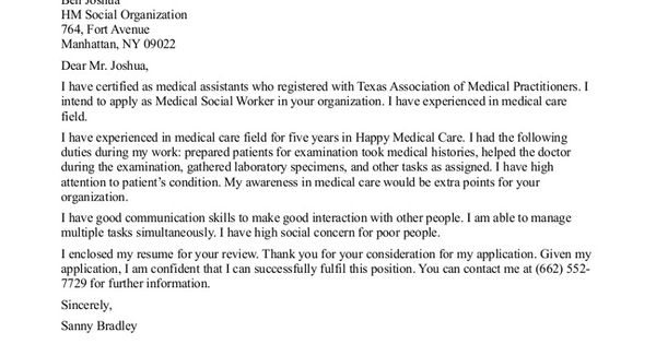 Social Work Cover Letter Sample For Medical Social Worker