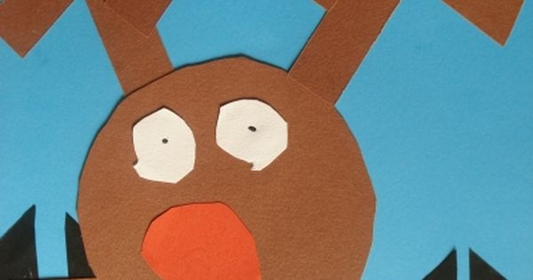 Easy Kindergarten Art center: Rudolph at the Window using simple shapes {circles,